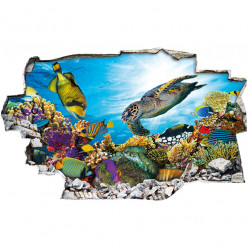 Stickers Trompe l'oeil 3D - Poissons