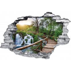 Stickers Trompe l'oeil 3D Pont et Cascade