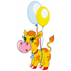Stickers Vache Ballon