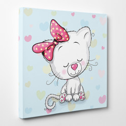 Tableau toile - Chaton Fille