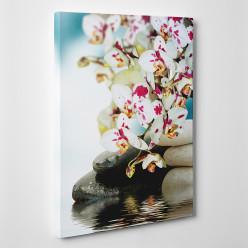 Tableau toile - Fleur Galets 3