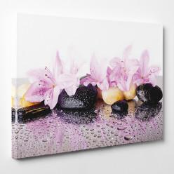 Tableau toile - Fleurs Galets 4