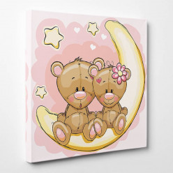 Tableau toile - Oursons Lune