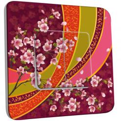 Interrupteur Décoré Double - Motif Oriental Fleurs de Cerisier