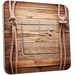 Interrupteur Décoré Double Va et Vient - bois marin cordes