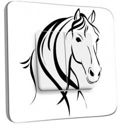 Interrupteur Décoré Double Va et Vient - Cheval Black&White