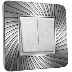Interrupteur Décoré Double Va et Vient - Design Argenté