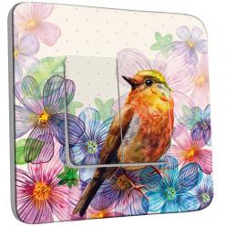 Interrupteur Décoré Double Va et Vient - Fleurs Oiseaux Abstrait 11