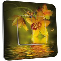 Interrupteur Décoré Double Va et Vient - Fleurs,Papillons Jaunes 2