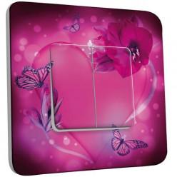Interrupteur Décoré Double Va et Vient - Fleurs Papillons roses