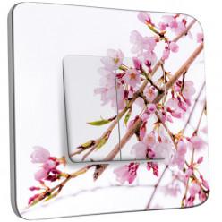 Interrupteur Décoré Double Va et Vient - Fleurs Roses Fond Blanc 3