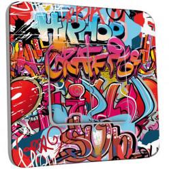 Interrupteur Décoré Double Va et Vient -  Graffiti HipHop