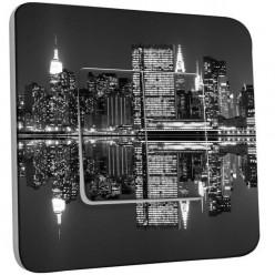 Interrupteur Décoré Double Va et Vient - New York Manhatan Black&White
