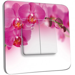 Interrupteur Décoré Double Va et Vient - Orchidée Rose