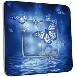 Interrupteur Décoré Double Va et Vient - Papillons Bleus Eau