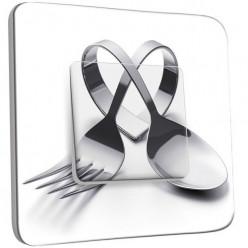 Interrupteur Décoré Poussoir - Cuisine Couverts en Coeur