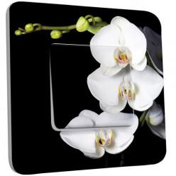 Interrupteur Décoré Poussoir - Orchidées Fond Noir