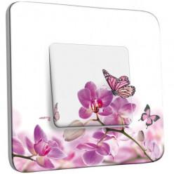 Interrupteur Décoré Poussoir - Papillons Orchidées 11