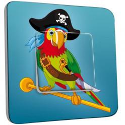 Interrupteur Décoré Poussoir - Perroquet Pirate Enfant