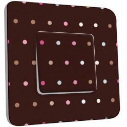 Interrupteur Décoré Simple - Petits Pois Colorés Fond Chocolat