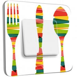 Interrupteur Décoré Simple Va et Vient -  Cuisine Couverts Multicolorés