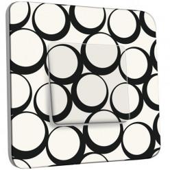 Interrupteur Décoré Simple Va et Vient - Design Ronds Black&White