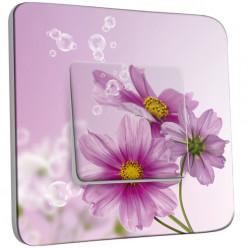 Interrupteur Décoré Simple Va et Vient - Fleur violets