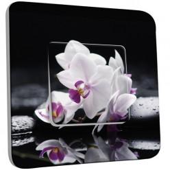 Interrupteur Décoré Simple Va et Vient - Fleurs Blancs