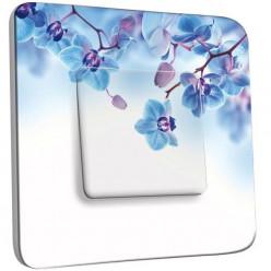 Interrupteur Décoré Simple Va et Vient - Fleurs Bleus Fond Blanc