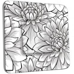 Interrupteur Décoré Simple Va et Vient - Fleurs design Black&White 2