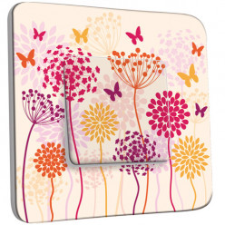 Interrupteur Décoré Simple Va et Vient - Fleurs Papillons Abstrait