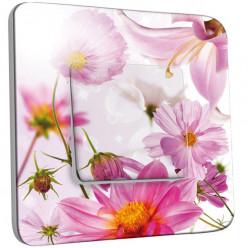 Interrupteur Décoré Simple Va et Vient - Fleurs Roses Fond Blanc 2