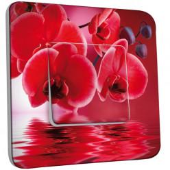 Interrupteur Décoré Simple Va et Vient - Fleurs Rouges Fond Rouge