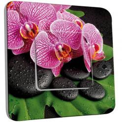 Interrupteur Décoré Simple Va et Vient - Galet Orchidée