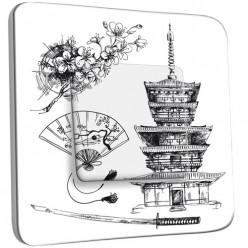 Interrupteur Décoré Simple Va et Vient - Motif Chinois Black&White