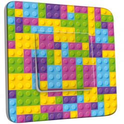 Interrupteur Décoré Simple Va et Vient - Motif Lego Multicoloré