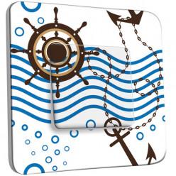 Interrupteur Décoré Simple Va et Vient - Motif Marin Bleu design