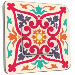 Interrupteur Décoré Simple Va et Vient -  Motif Oriental Multicoloré