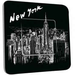 Interrupteur Décoré Simple Va et Vient - New York  Black&White 1