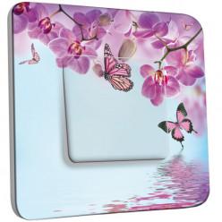 Interrupteur Décoré Simple Va et Vient - Papillon Orchidée 2