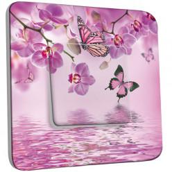 Interrupteur Décoré Simple Va et Vient - Papillons Orchidées 10
