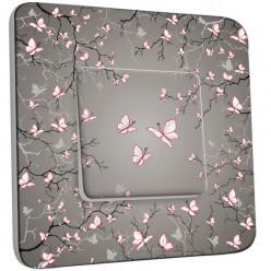 Interrupteur Décoré Simple Va et Vient - Papillons Roses Fond Taupe