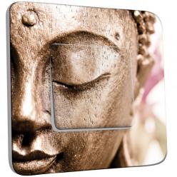 Interrupteur Décoré Simple Va et Vient - Tête de Bouddha Zoom Or