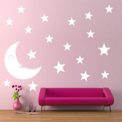 Kit 19 Stickers Lune Étoile