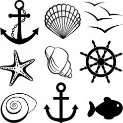 Kit 9 Stickers marin