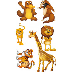 kit stickers 6 animaux