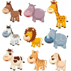 kit stickers 9 animaux