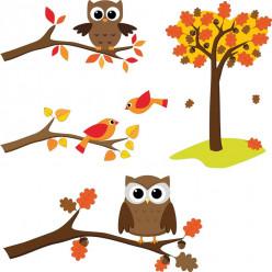 Kit stickers oiseaux et hiboux
