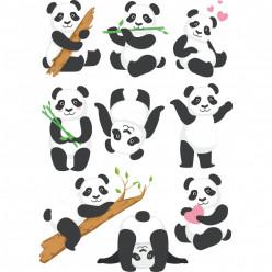kit stickers pandas