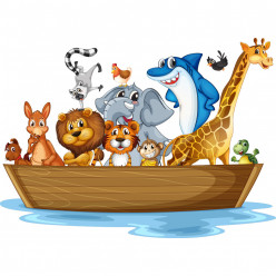 Stickers bateau animaux